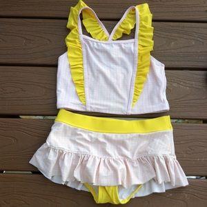 HANNA ANDERSSON pink yellow tankini 140 9 10 (E4)